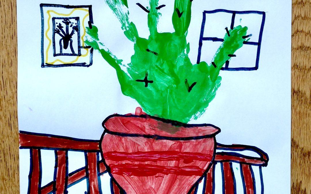 Cactus en empreinte de main